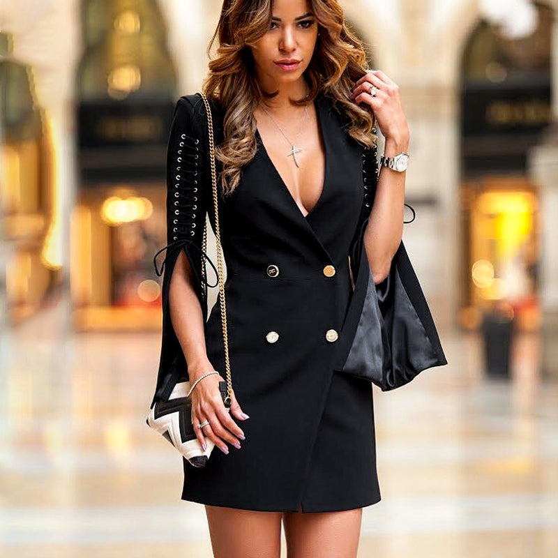 Split flare sleeve lace up blazer dress Women OL short black dress party Sexy dress elegant vestidos