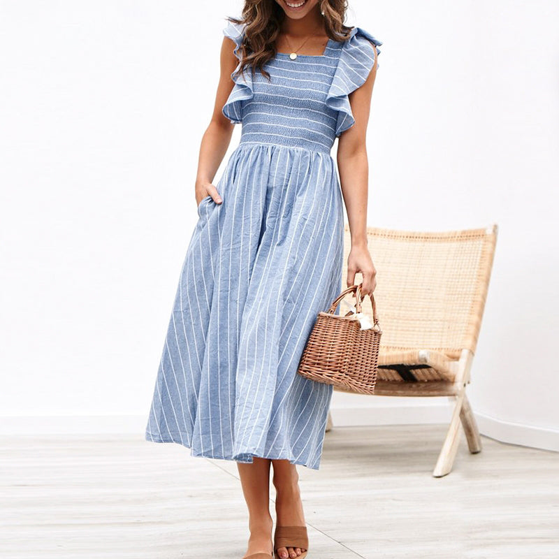 Striped pleated long dresses women Elegant ruffle sleeve pinafore blue dress Casual pockets linen dress vestidos