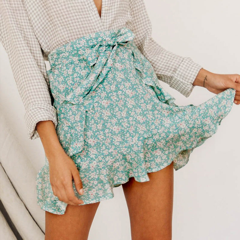 Vinatge floral print mini short skirt women beach cotton skirt female High waist sash boho skirt ladies