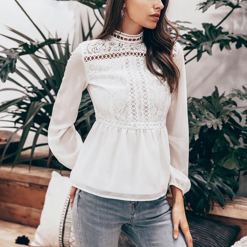 Vintage peplum top white blouse women Hollow out embroidery lace blouse shirt Long sleeve chiffon summer blouse top
