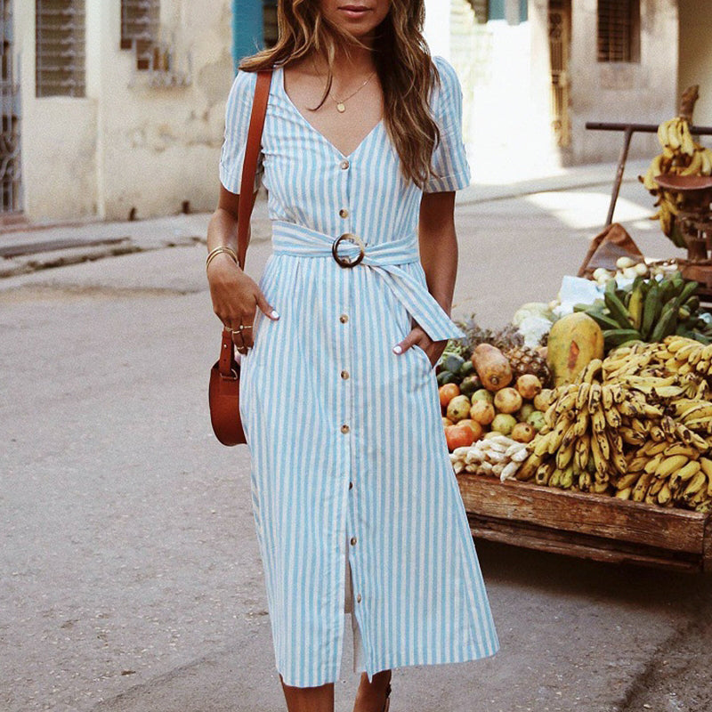 Vintage striped dress women Elegant v neck button sashes midi dress female Casual holiday beach ladies vestidos