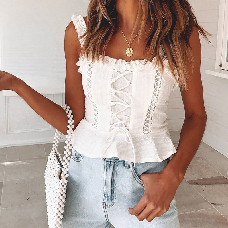 Vintage white camisole tank top women style cotton cami top female Lace-up ruffle strap short peplum shirt
