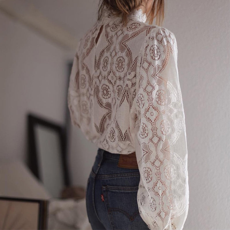 Elegant Lace Shirt White Women Long Sleeve Sexy Hollow Out See Through Blouses Elegant Top Ladies