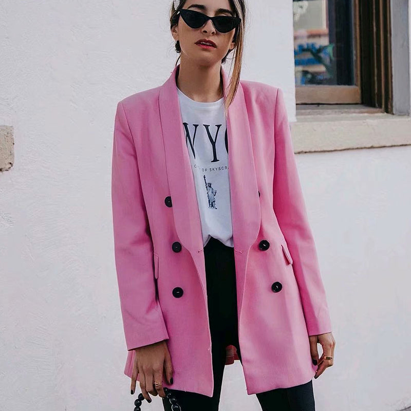 Fashion Pink Long Blazer Women Long Sleeve Double Breasted Jacket With Pockets Office Blazer Ladies