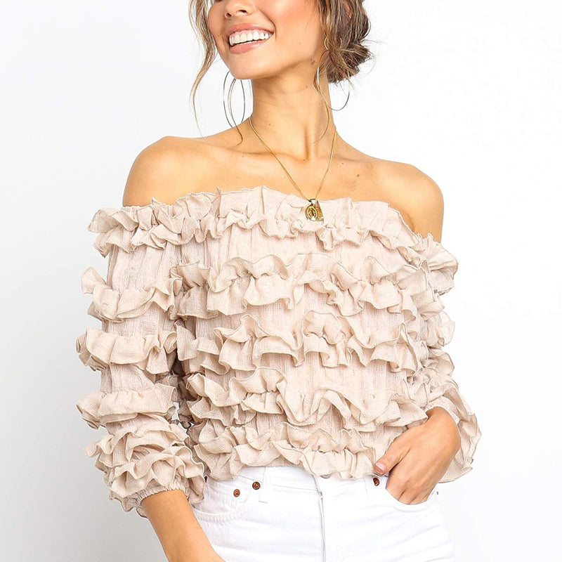 Off Shoulder Frilled Cotton Crop Top Women Elegant Khaki Black Blouses Sexy Ruffle Shirts Streetwear