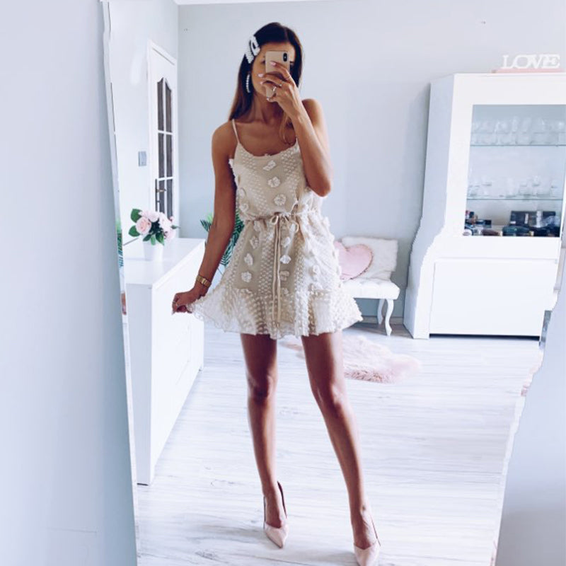 Sexy Spaghetti Strap Ruffles Women Dress Beige Backless Lined Party Beach Sundress Elegent Streetwear