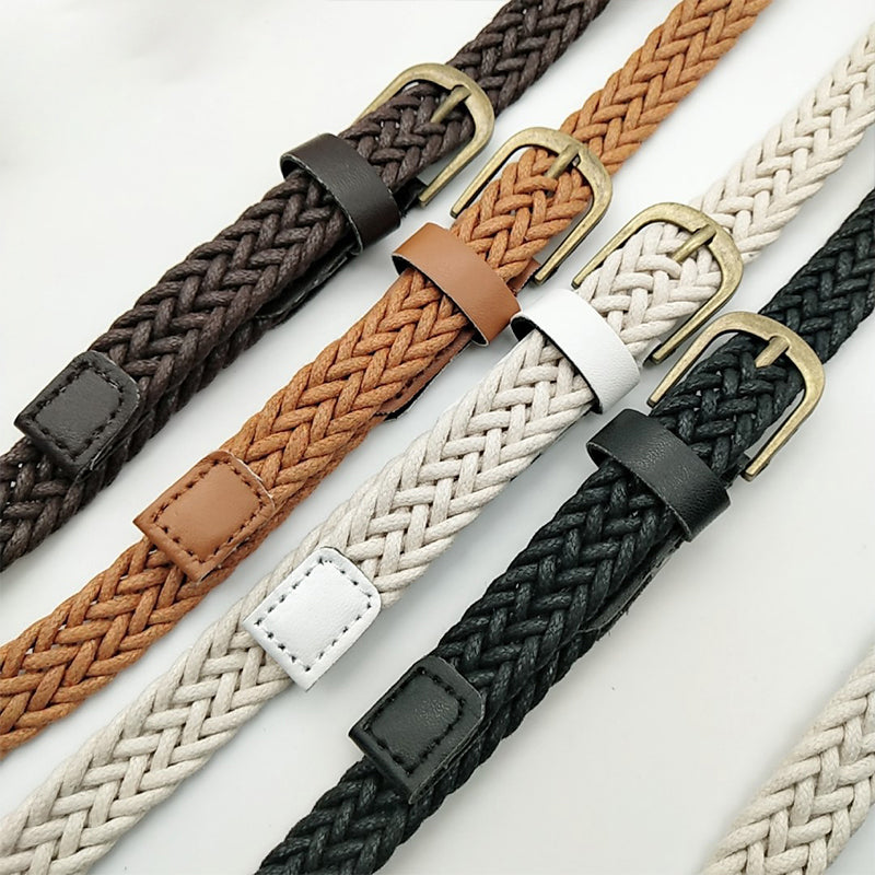 Vintage Woven Knitted Belts For Women Boho Beach Style Handwoven Fashion Belt White Black Faux Leather Belt