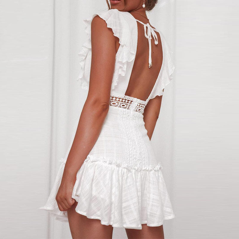 White Embroidery Lace Cotton Dress Women Elegant Hollow Out Party Beach Sundress Sexy V Neck Short Sleeve Bodycon