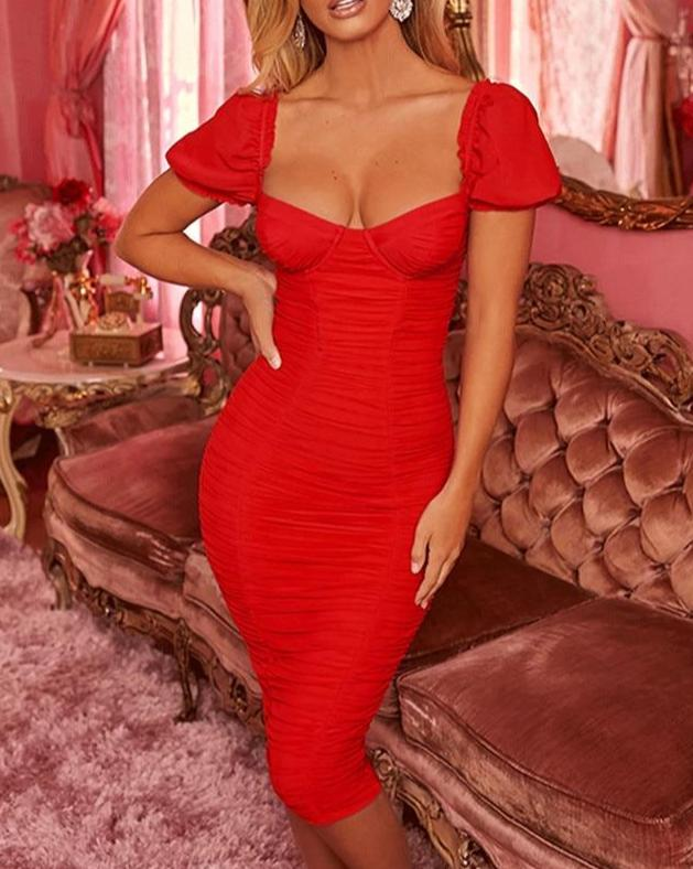 Strapless Sexy Summer Dress Women Elegant Short Sleeve Ruched Bodycon Party Dress Female Double fabric Split Club Dress
