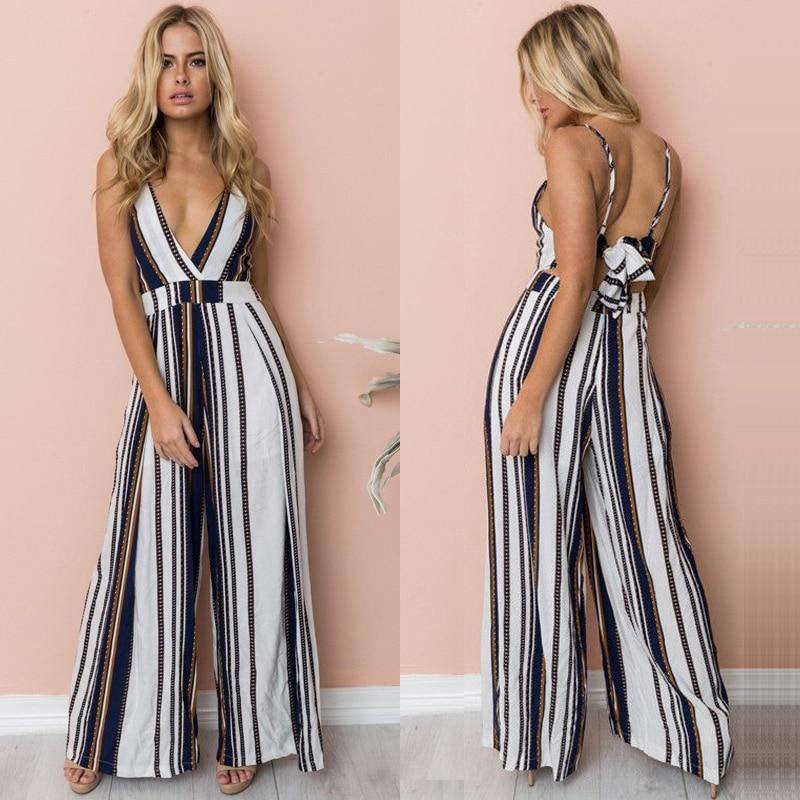 Fashion Women Floral Striped Jumpsuit Romper Sleeveless Playsuit Trousers Wide Leg Pants Casual Holiday Clothing