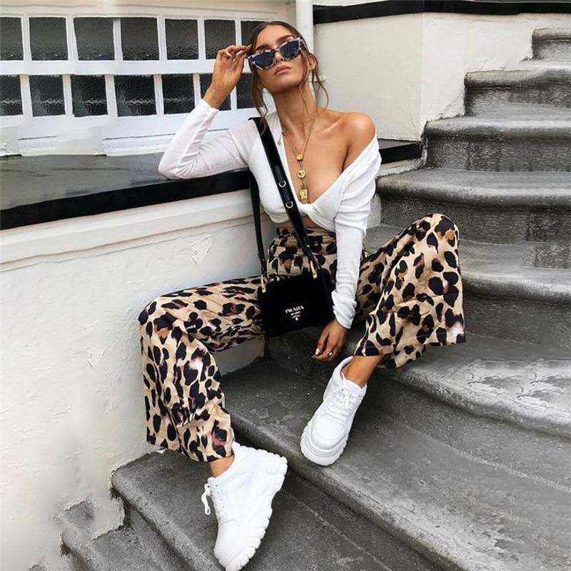 Fashion Women High Waist Flared Wide Leg Pants Sexy Leopard Print Trousers Office Lady Work Pants Casual Palazzo Long Trousers