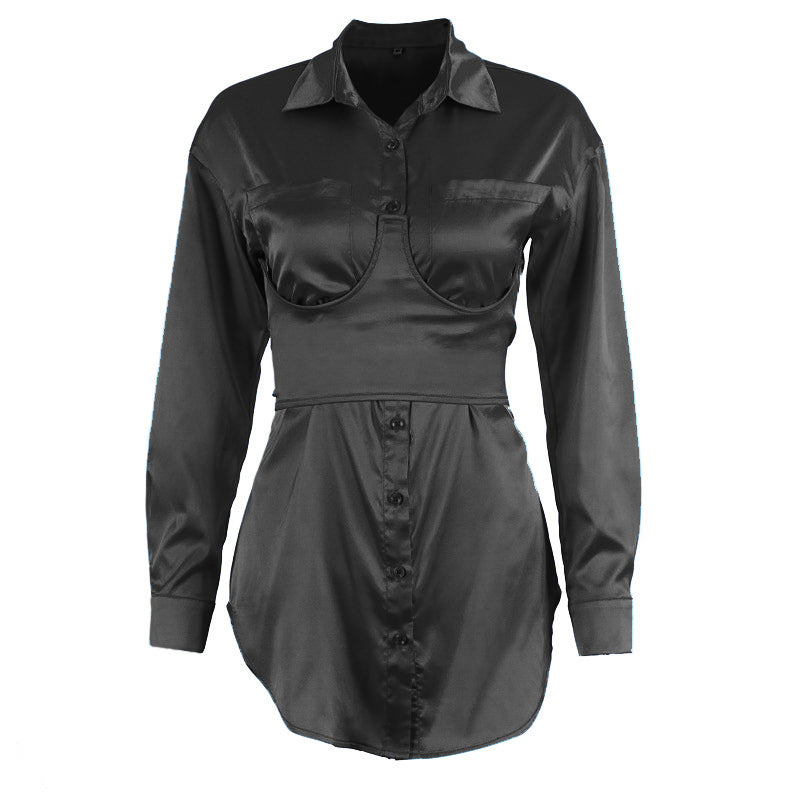 Sashes Tunic Satin Blouse Long Sleeve Bandage Lace Up V Neck Front Pockets Fashion Slip Silk Sexy Blouse