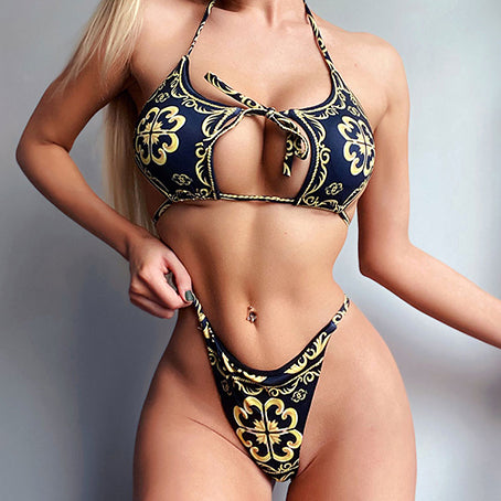 Print Bikini Set Sexy Halter Swimsuit Female Push Up Swimwear Women Micro Bikini Bathing Suit High Cut Biquini