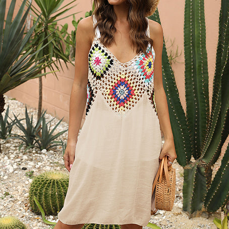 Crochet Swimsuit Cover Ups Sexy Hollow Beach Dress Women Cover Up Beach Wear V Neck Casual Beach Wear Bathing Suit Bathers