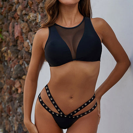 Sexy See Through Bikini Black High Neck Swimsuit Female High Cut Swimwear Women Mesh Bikinis Bathing Suit Swim Suit