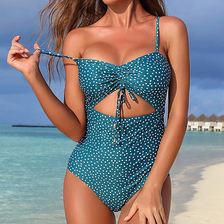 Vintage Polka Dot Swimsuit One Piece Plus Size Swimwear Women Hollow Bodysuit Monokini Bandage Bathing Suit Beach Wear
