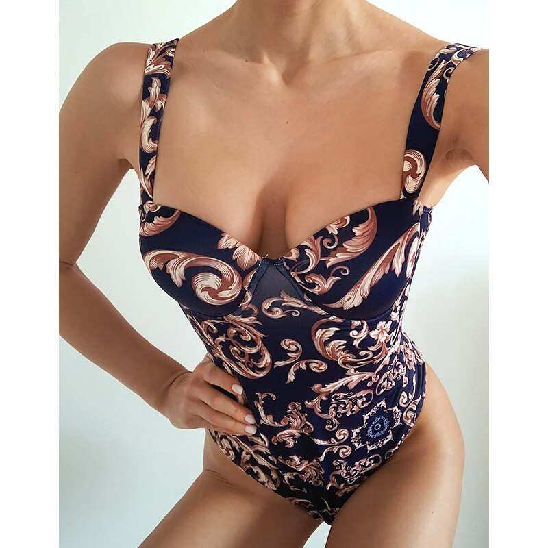 Vintage Print One Piece Swimsuit Deep V-neck Swimwear Women High Cut Bodysuits Monokini Bathers Bathing Suit
