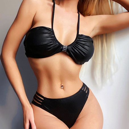 Solid Black Bikini Set  Vintage Bandage Swimsuit Female String Bikinis Sexy Swimwear Women Bathing Suit Swimming Suit