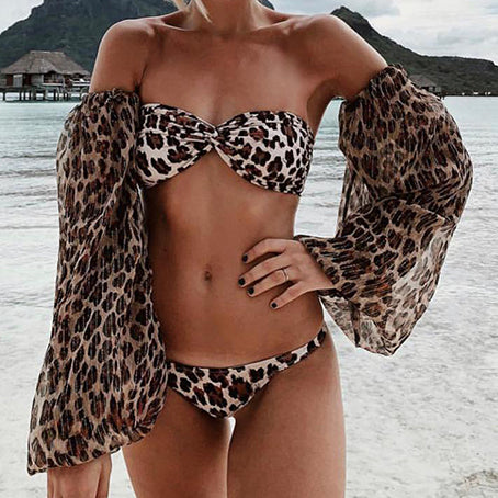 Long Sleeve Swimsuit Female Leopard Bikini Micro Bandeau Biquini Mesh Bathing Suit Women Swimwear Bathers