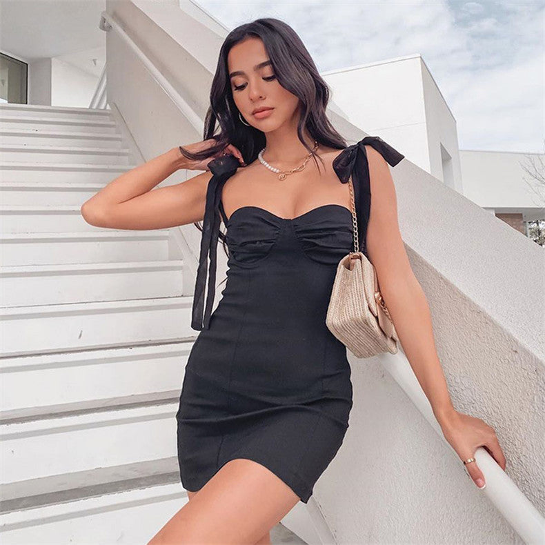 Bow Tied Mini Dress Sexy Bodycon Strapless Off Shoulder Lace Up Solid Black White Short Dress