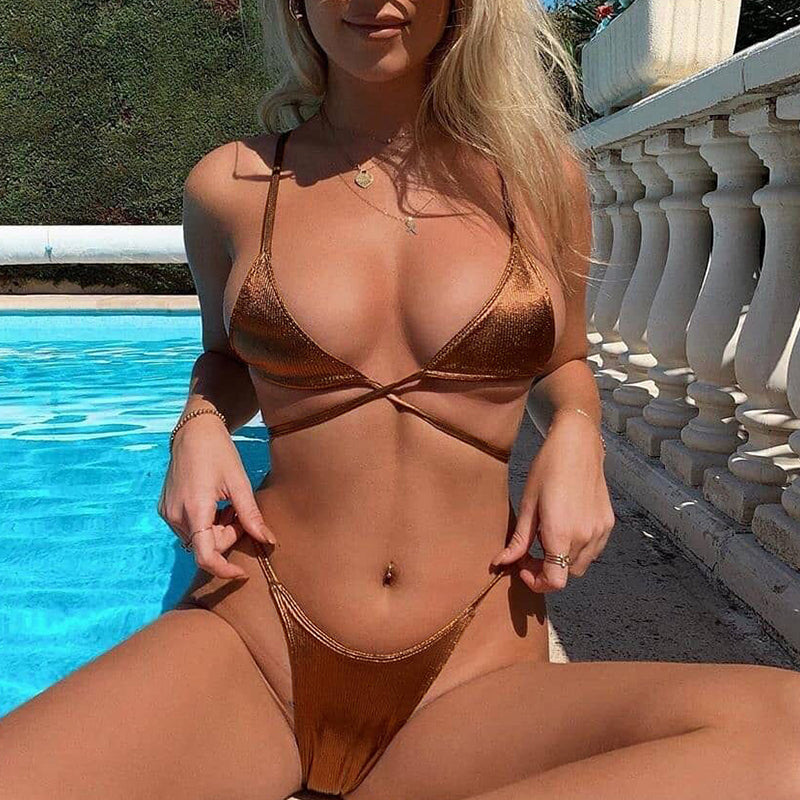 Vintage String Bikinis High Cut Swimsuit Female Push Up Swimwear Women Solid Bandage Bathing Suit