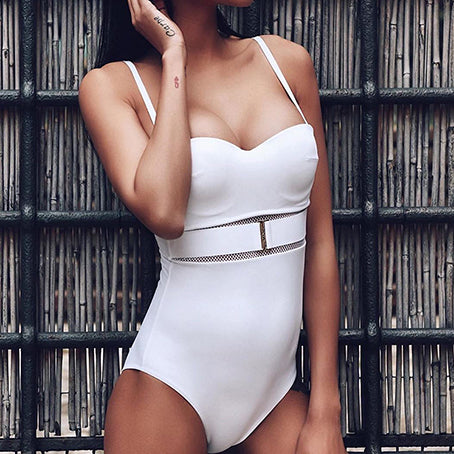 Belt Bodysuit One Piece Mesh Sexy Swimsuit Female Push Up Swimwear Women Monokini See Through Bikini Beach Wear