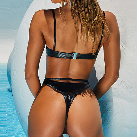 Sexy Thong Bikini Ribbed Keyhole Swimsuit Female Solid Swimwear Women Bathers Bandage Bathing Suit Beach Wear