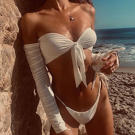 Sexy White Knot Bikini Long Sleeve Swimsuit Female Tie Side Swimwear Women Bathers Vintage Bathing Suit Swim