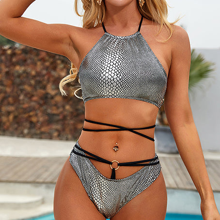 Sexy Snake Print Swimsuit Female High Neck Bikinis Mujer Halter Swimwear Women Bathing Suit Beach Wear