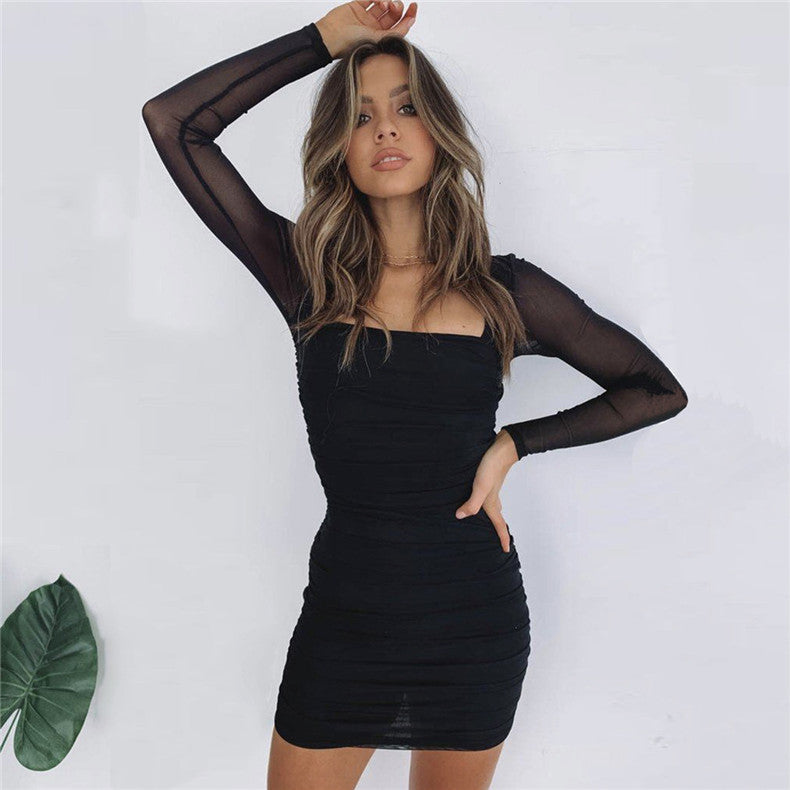 Long Sleeve Mesh Sexy Dress Women Fashion Square Neck Mini Bodycon Pleated Sheer Club Dress