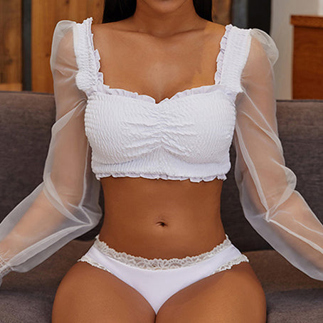 Sexy White Lace Bikini Long Sleeve Mesh Swimsuit Female Bandeau Swimwear Women Bathers Bathing Suit Beachwear