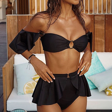 Swimsuit With Skirt Sexy High Waist Bikini Ruffle Swimsuit Female Swimwear Women Off Shoulder Bandeau Bathing Suit