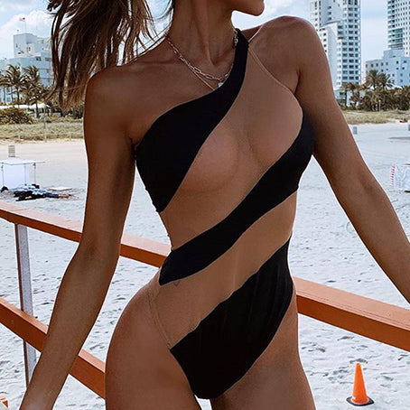 Sexy See Through Bikini Mesh Swimsuit One Piece One Shoulder Swimwear Women Bodysuit Vintage Patchwork Bathing Suit Bathers