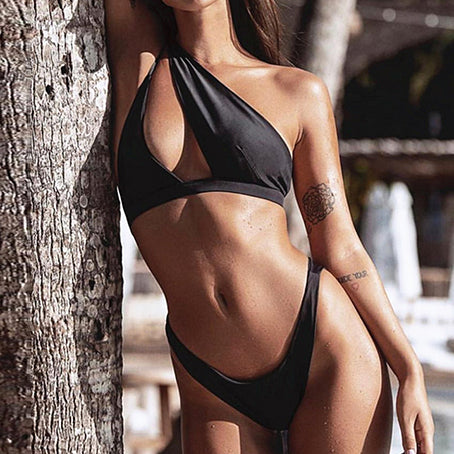 Sexy Swimsuit Female Patchwork Swimwear Women One Shoulder Bikini Set Brazilian Bikinis Bathing Suit