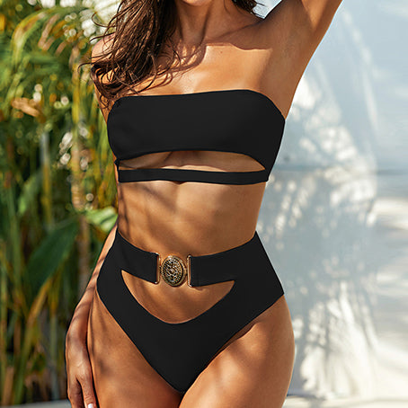 Sexy High Waist Bikini Bandeau Swimsuit Without Straps Belt Bikini Set Hollow Out Swimwear Women Bathers Bathing Suit