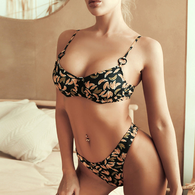 Sexy Leopard Print Swimsuit Female Ring Vintage Bikini Push Up Swimwear Women Brazilian Biquini Underwire Bathing Suit