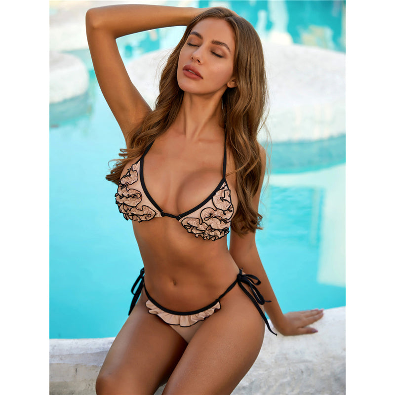 Sexy Ruffled Swimsuit Female Swimwear Women Two-pieces Bikini Set Halter Bather Bathing Suit Swim