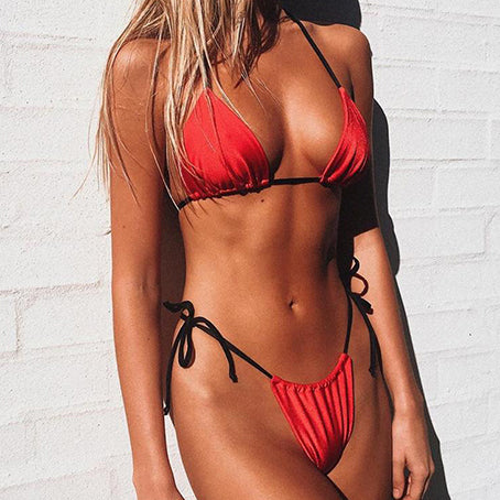 Sexy Neon Bikini Micro Halter Swimsuit Female Triangle Swimwear Women Two-piece Suit Biquinis Bathing Suit New Bathers
