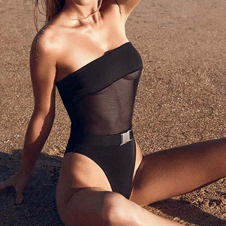 Sexy Mesh Bodysuit One-piece High Cut Bikini Buckle Black Swimsuit Female Monokini Push Up Swimwear Belt Bathing Suit