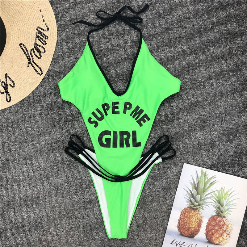 V Neck Thong Bikini Mujer Monokini High Cut Swimsuit One Piece Bodysuit Letter Bandage Swimwear