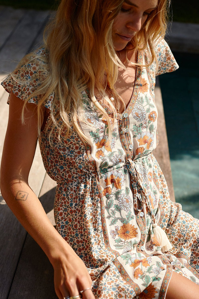 Floral Print Mini Dress V-Neck Lace up Waist Boho Dresses Flutter Short Sleeve Dress Women Clothing Vestidos