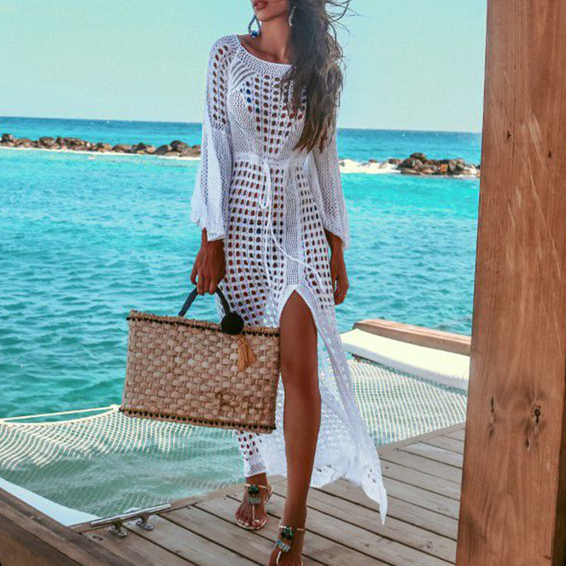 Hollow out sexy crochet beach dress women beach wear cover up Knitted long sleeve holiday white dress vestidos