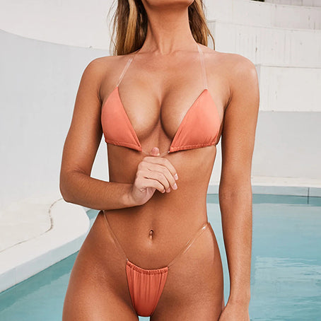 Sexy Beach Wear See Through Bikini Bottom Ruffle Cover-ups Women Swimsuit