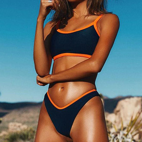 High Cut Bikini Sexy Neon Swimsuit Female Sports Swimwear Women Bikini Set Beach Wear Ribbed Bathing Suit