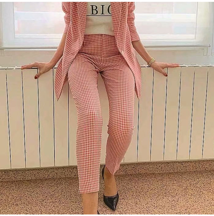 Pink Plaid Casual Ankle-Length Pants Women High Waist Trousers With Pockets Office Lady Pencil Pants Streetwear