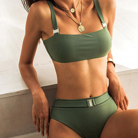 High Waist Bikini Sexy Belt Swimsuit Female Bandeau Swimwear Women Strap Swimsuit Separate Bathing Suit Beach Wear