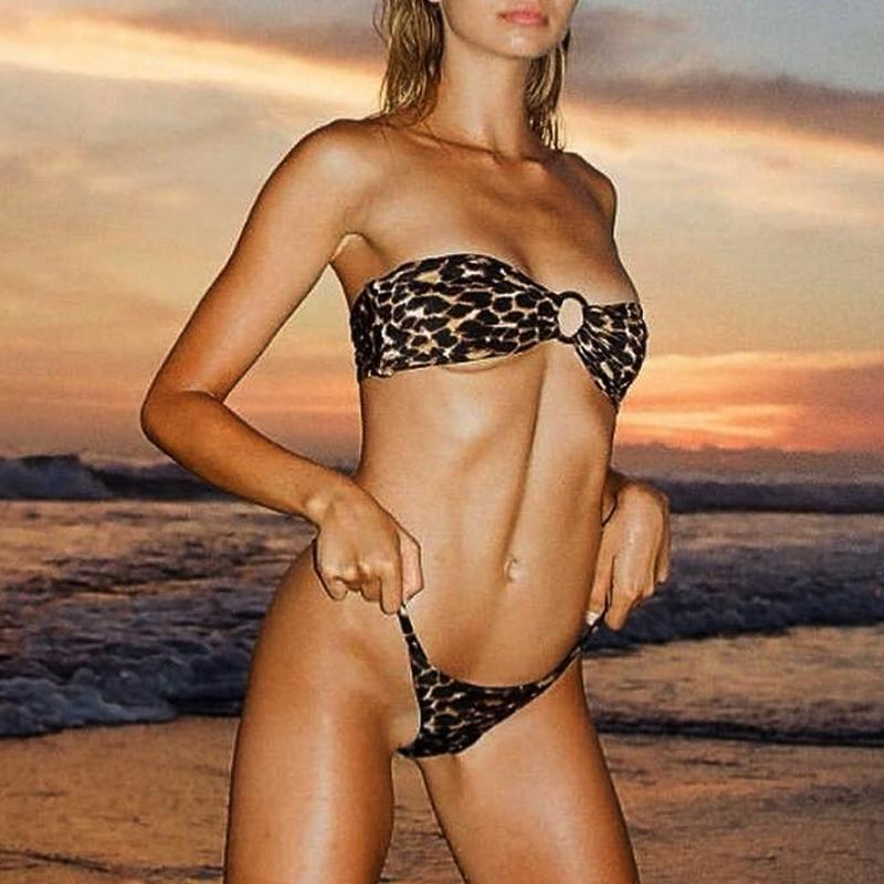 Brazilian Leopard Bikini Bathing Suit Strapless Sexy Swimsuit Separate High Cut Thong Swimwear Women Micro Bikini