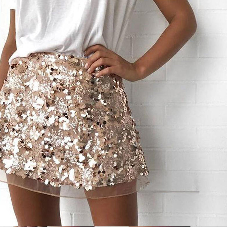Gold Sexy Sequined Club Party Mini Skirt Women High Wasit Zipper Mesh Skirts Fashion Streetwear