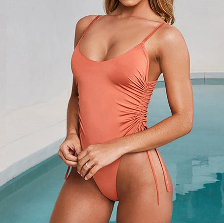 Women Monokini String Bikini Sexy High Cut One Piece Swimsuit Pleated Swimwear Women Swm Suit Bathing Suit
