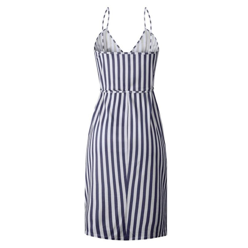 Stripe Printing Sleeveless Off Shoulder Dress Evening Party Vest Empire Sashes Dress